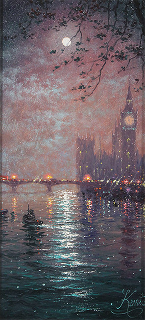 Andrew Grant Kurtis, Original oil painting on panel, Westminster Chimes at Midnight  No frame image. Click to enlarge