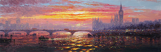 Andrew Grant Kurtis, Original oil painting on panel, Morning Haze across Westminster  No frame image. Click to enlarge