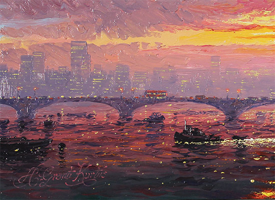 Andrew Grant Kurtis, Original oil painting on panel, Morning Haze across Westminster  Signature image. Click to enlarge