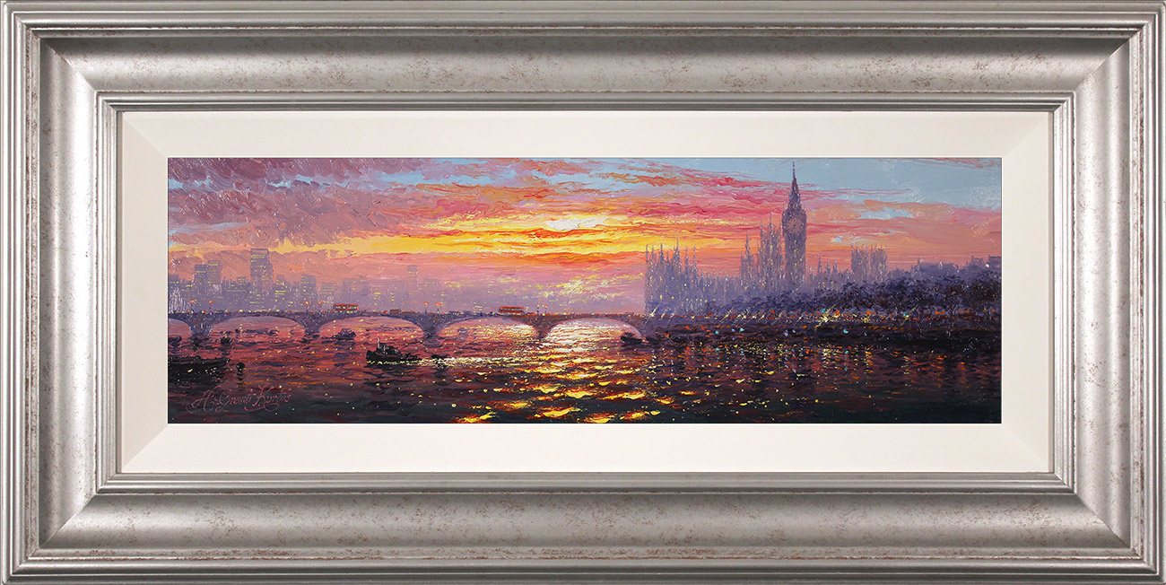 Andrew Grant Kurtis, Original oil painting on panel, Morning Haze across Westminster  Click to enlarge