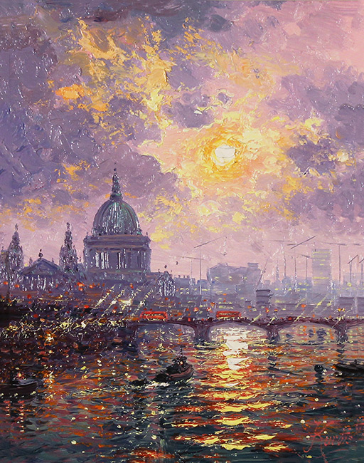 Andrew Grant Kurtis, Original oil painting on panel, Thames Sparkle No frame image. Click to enlarge