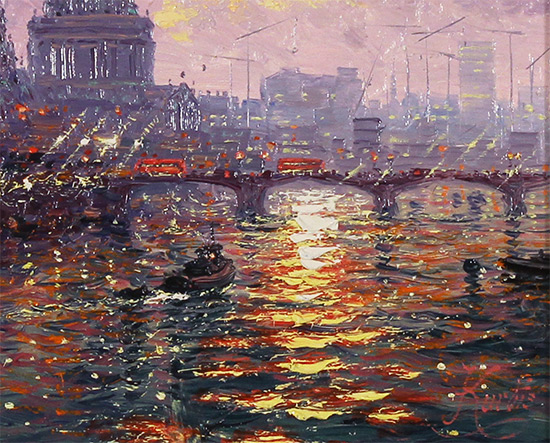 Andrew Grant Kurtis, Original oil painting on panel, Thames Sparkle Signature image. Click to enlarge