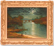 Andrew Grant Kurtis, Original oil painting on panel, Evening at the Lake