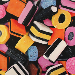 Angela Lyons, Original oil painting on canvas, Liquorice Allsorts