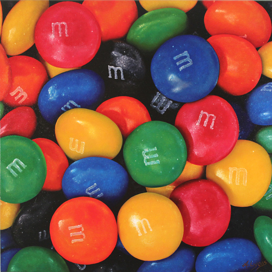 Angela Lyons, Original oil painting on canvas, M&Ms No frame image. Click to enlarge