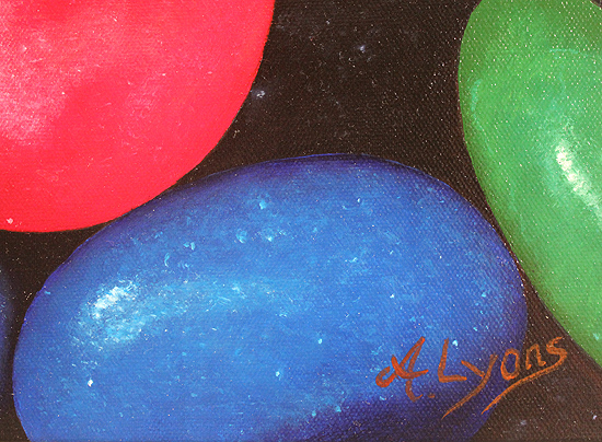 Angela Lyons, Original oil painting on canvas, M&Ms Signature image. Click to enlarge