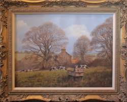 Edward Hersey, Original oil painting on canvas, Summer Landscape Medium image. Click to enlarge