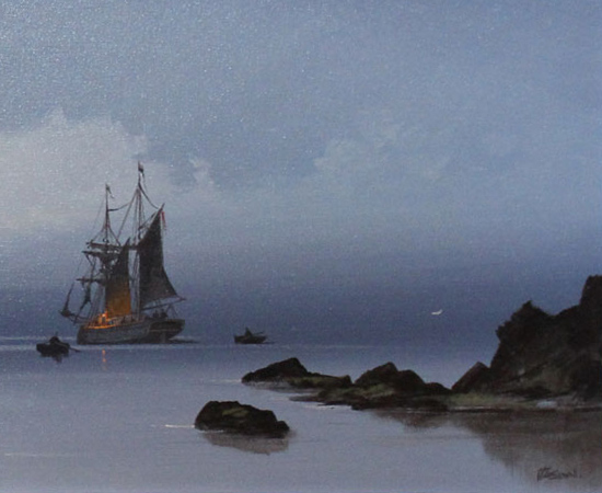 Les Spence, Original oil painting on canvas, Marine Scene Signature image. Click to enlarge