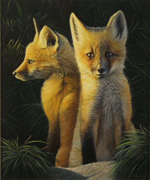 Ben Waddams, Original oil painting on panel, A Curious Pair