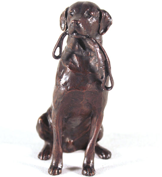 Michael Simpson, Bronze, Medium Labrador with Lead No frame image. Click to enlarge