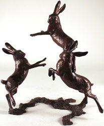 Michael Simpson, Medium Hares Playing, Bronze