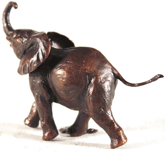 Michael Simpson, Bronze, Baby Elephant Running No frame image. Click to enlarge