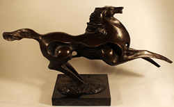 Bronze Statue, Bronze, Abstracted Horse, with marble base