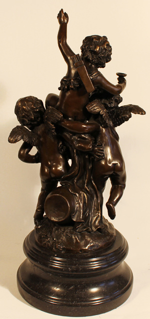 Bronze Statue, Bronze, Three Cherubs, with marble base No frame image. Click to enlarge