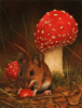 Carl Whitfield, Original oil painting on panel, Mushroom Mouse
