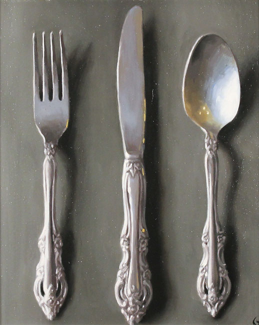 Caroline Richardson, Original oil painting on panel, Silver Cutlery No frame image. Click to enlarge