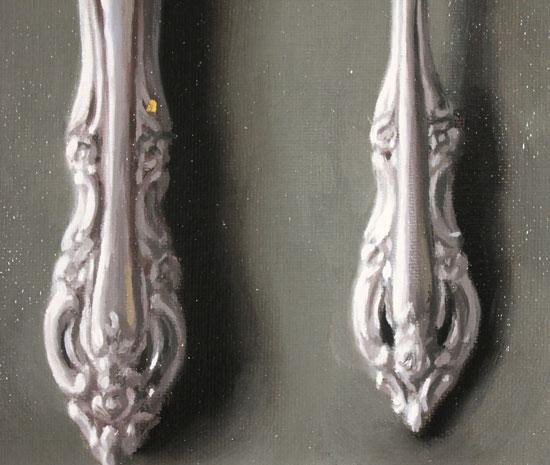 Caroline Richardson, Original oil painting on panel, Silver Cutlery Signature image. Click to enlarge