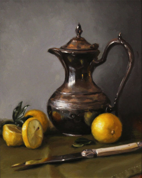 Caroline Richardson, Original oil painting on panel, Lemon and Sage No frame image. Click to enlarge