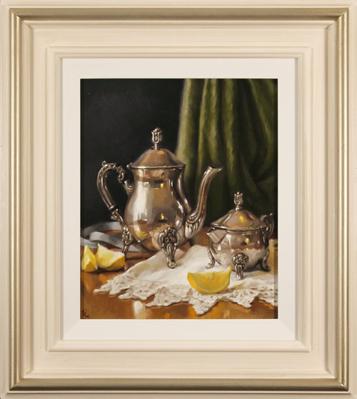 Caroline Richardson, Original oil painting on panel, Pot of Earl Grey