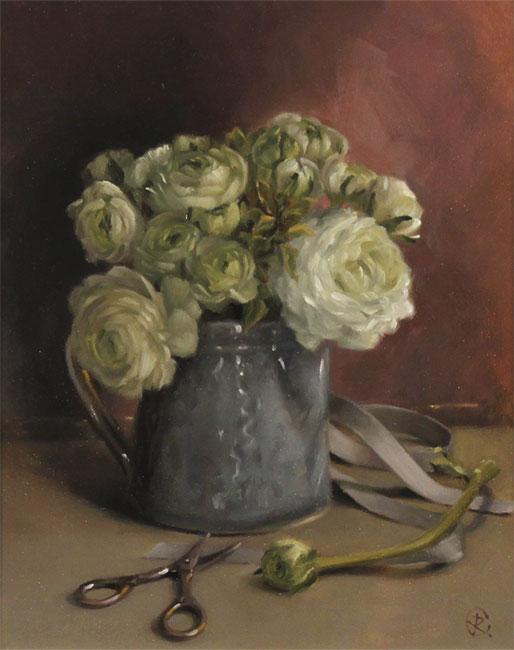 Caroline Richardson, Original oil painting on panel, Ranunculus Bouquet No frame image. Click to enlarge