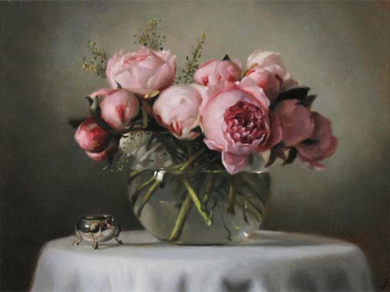 Caroline Richardson, Original oil painting on panel, Peonies No frame image. Click to enlarge