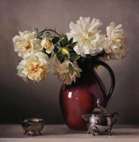 Caroline Richardson, Original oil painting on canvas, Jug of Roses No frame image. Click to enlarge