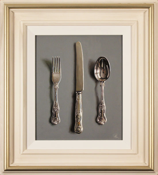 Caroline Richardson, Original oil painting on panel, Silver Cutlery