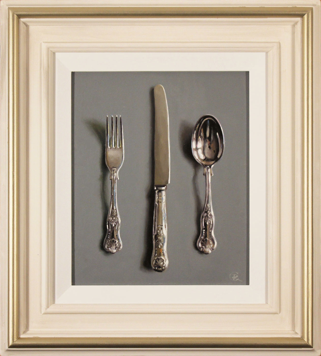 Caroline Richardson, Original oil painting on panel, Silver Cutlery Click to enlarge