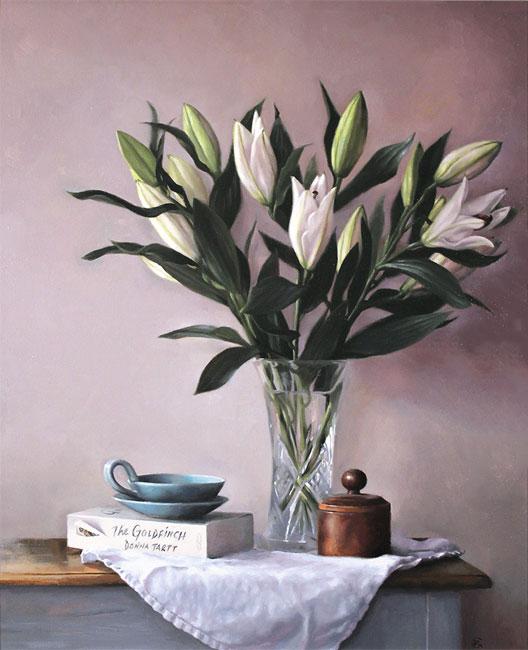 Caroline Richardson, Original oil painting on panel, Lily Bouquet No frame image. Click to enlarge