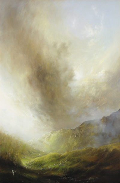 Clare Haley, Original oil painting on panel, Down to the Valley from the Mossy Path No frame image. Click to enlarge