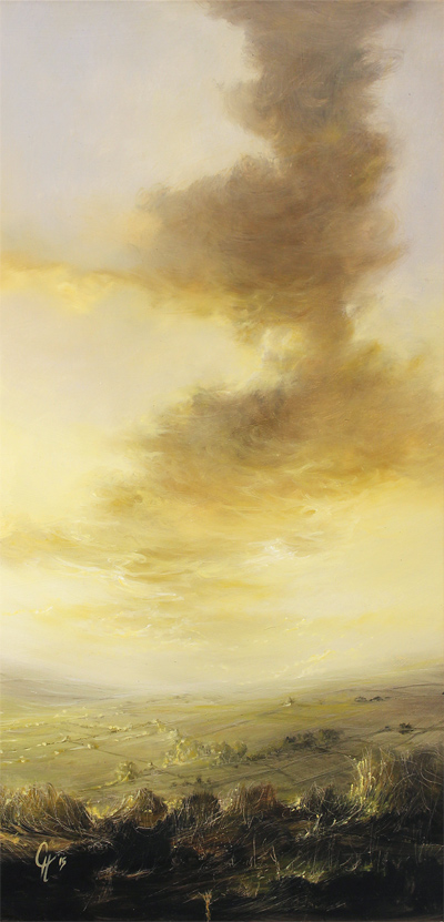 Clare Haley, Original oil painting on panel, So Evening Begins No frame image. Click to enlarge
