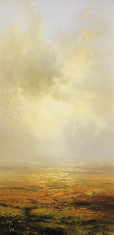 Clare Haley, Original oil painting on panel, Endless Moorland No frame image. Click to enlarge