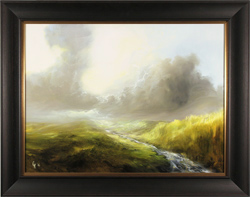 Clare Haley, Original oil painting on panel, Music of a Moorland Stream