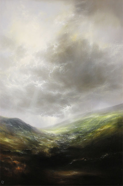Clare Haley, Original oil painting on panel, Far Up the Rugged Path