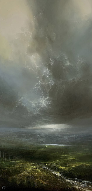 Clare Haley, Original oil painting on panel, Something in the Air No frame image. Click to enlarge