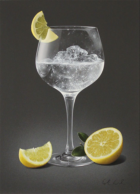 Colin Wilson, Original acrylic painting on board, Gin and Tonic with Lemon No frame image. Click to enlarge