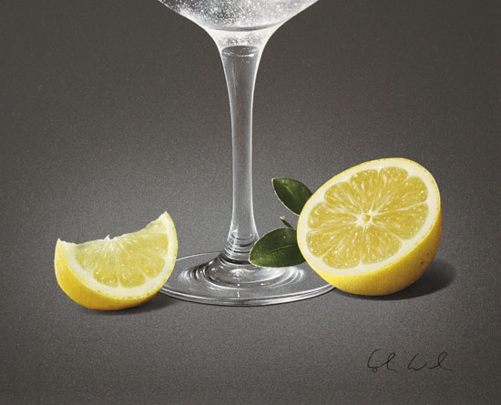 Colin Wilson, Original acrylic painting on board, Gin and Tonic with Lemon Signature image. Click to enlarge