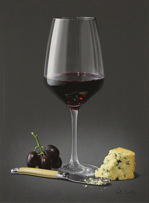 Colin Wilson, Original acrylic painting on board, Red Wine and Stilton No frame image. Click to enlarge