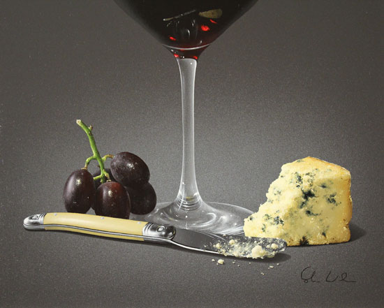 Colin Wilson, Original acrylic painting on board, Red Wine and Stilton Signature image. Click to enlarge
