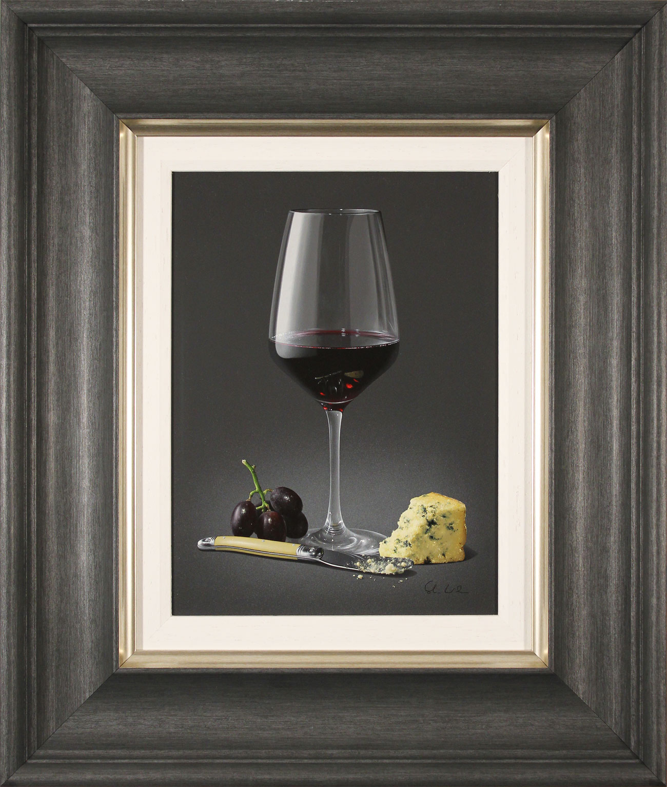 Colin Wilson, Original acrylic painting on board, Red Wine and Stilton Click to enlarge
