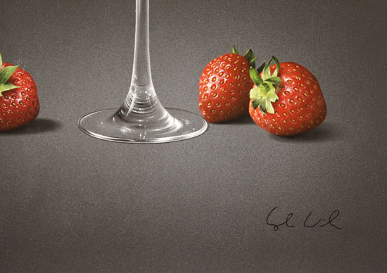 Colin Wilson, Original acrylic painting on board, Sparkling Rosé and Strawberries Signature image. Click to enlarge