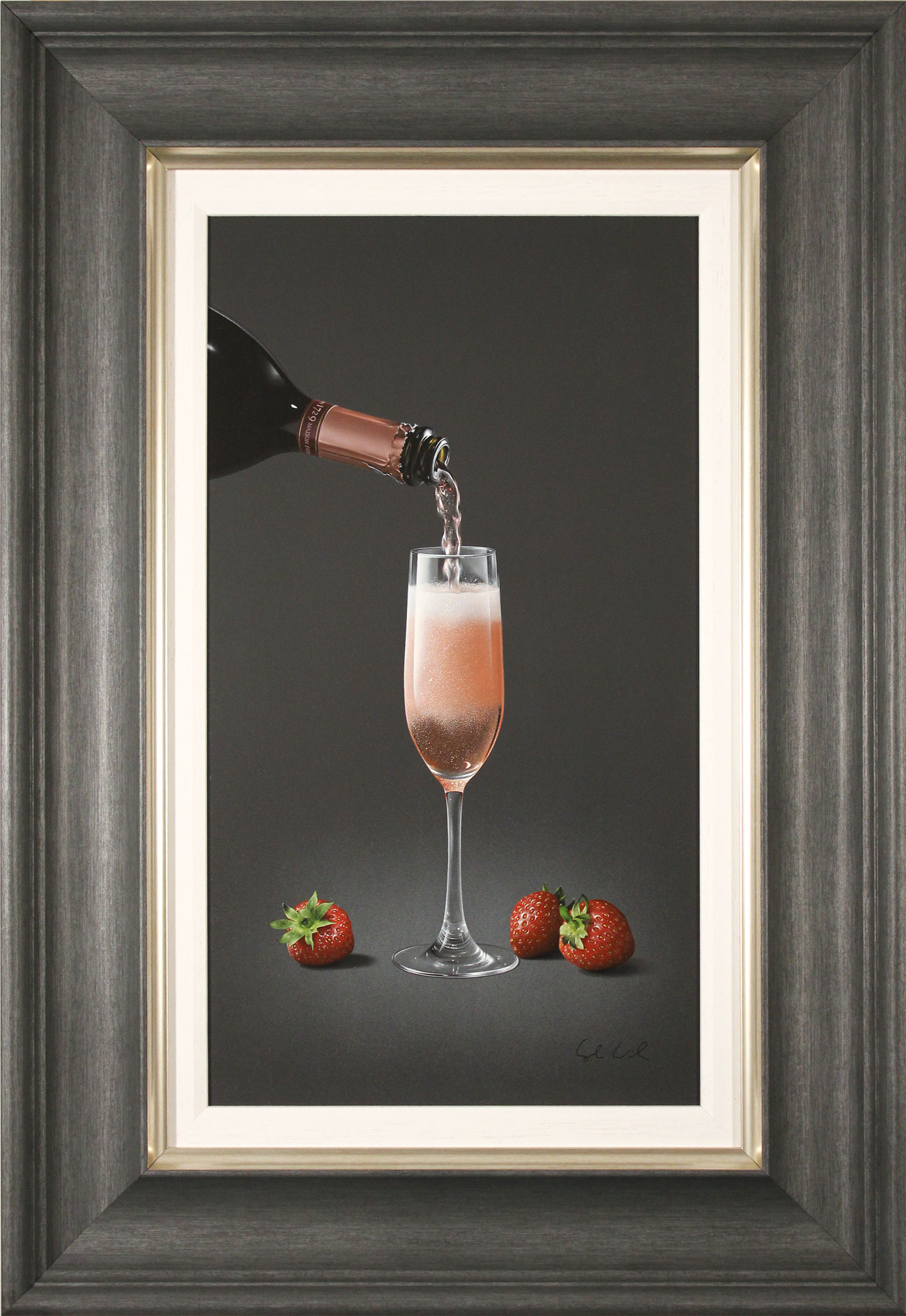 Colin Wilson, Original acrylic painting on board, Sparkling Rosé and Strawberries Click to enlarge