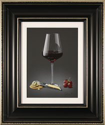 Colin Wilson, Original acrylic painting on board, Red Wine and Stilton