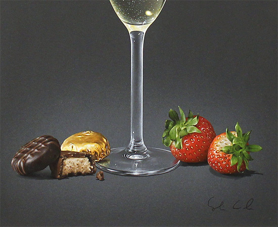 Colin Wilson, Original acrylic painting on board, Champagne and Strawberries  Signature image. Click to enlarge