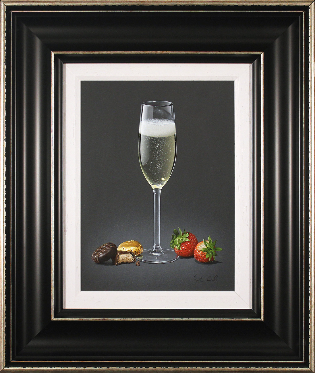 Colin Wilson, Original acrylic painting on board, Champagne and Strawberries  Click to enlarge