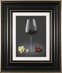 Colin Wilson, Original acrylic painting on board, Red Wine and Blue Cheese  Medium image. Click to enlarge