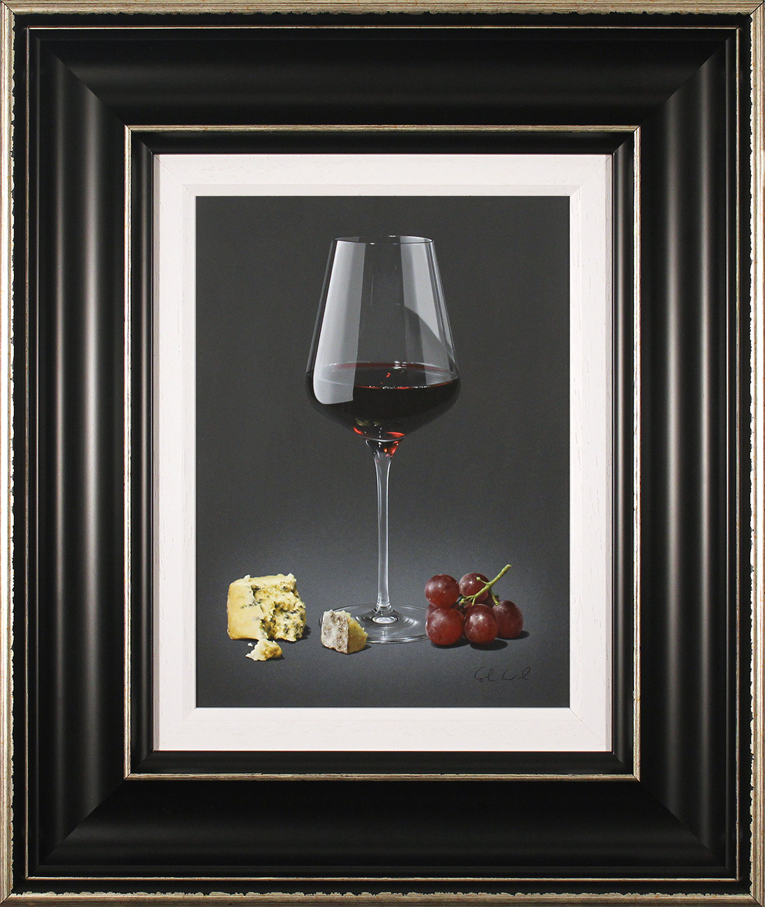Colin Wilson, Original acrylic painting on board, Red Wine and Blue Cheese  Click to enlarge
