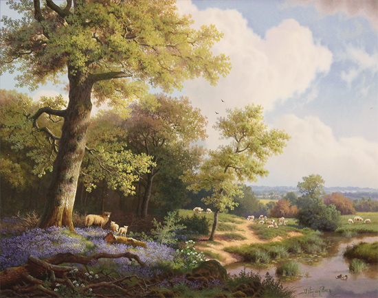 Daniel Van Der Putten, Original oil painting on panel, Bluebells at Priors Marston