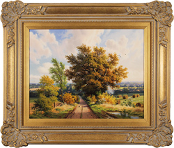 Daniel Van Der Putten, Original oil painting on panel, End of Summer, Lane to Denham