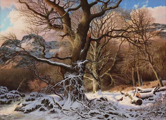 Daniel Van Der Putten, Original oil painting on panel, Winter at Great Langdale No frame image. Click to enlarge